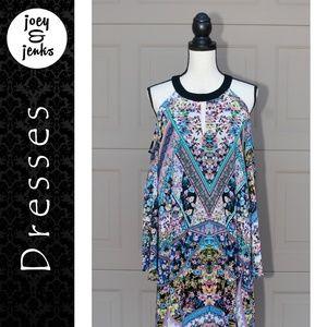 NWT Nicole Miller Floral Cold Shoulder Dress 14